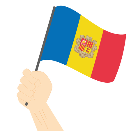 sovereignty: Hand holding and raising the national flag of Andorra Illustration