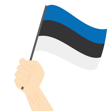 sovereignty: Hand holding and raising the national flag of Estonia Illustration