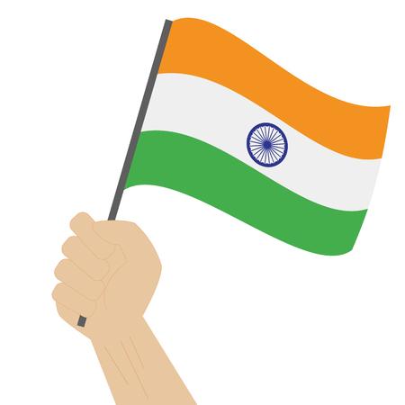 Hand holding and raising the national flag of India Vektoros illusztráció