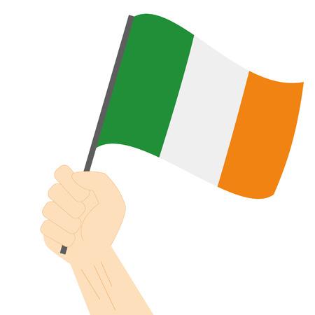 sovereignty: Hand holding and raising the national flag of Ireland Illustration