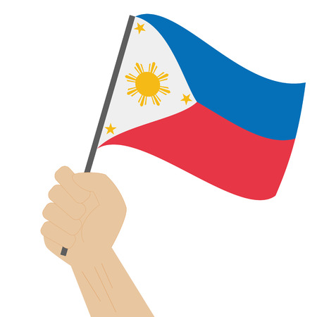 Hand holding and raising the national flag of Philippines Illustration