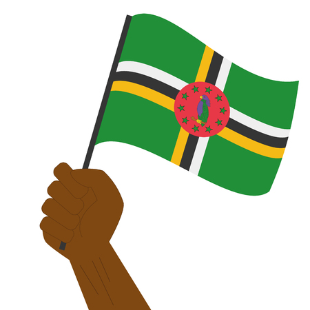 sovereignty: Hand holding and raising the national flag of Dominica