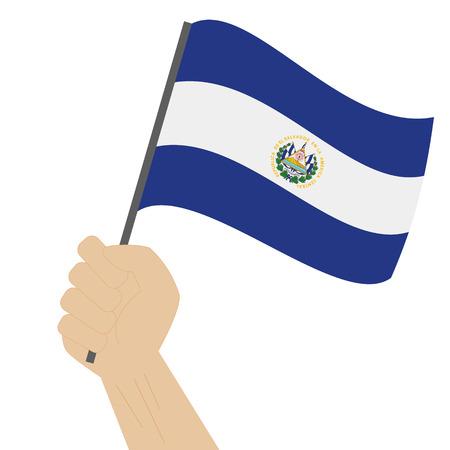 bandera de el salvador: Mano que sostiene y levantando la bandera nacional de El Salvador