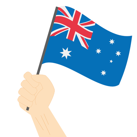 Hand holding en het verhogen van de nationale vlag van Australië Vector Illustratie