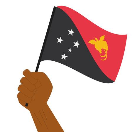 Nuova Guinea: Hand holding and raising the national flag of Papua New Guinea  Vettoriali