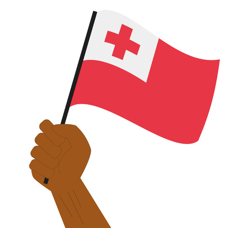 Hand holding and raising the national flag of Tonga Illustration