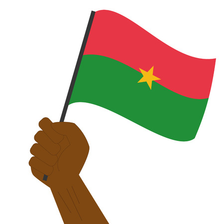 Hand holding and raising the national flag of Burkina Faso Illustration