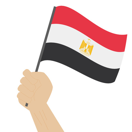 Hand holding and raising the national flag of Egypt Illustration