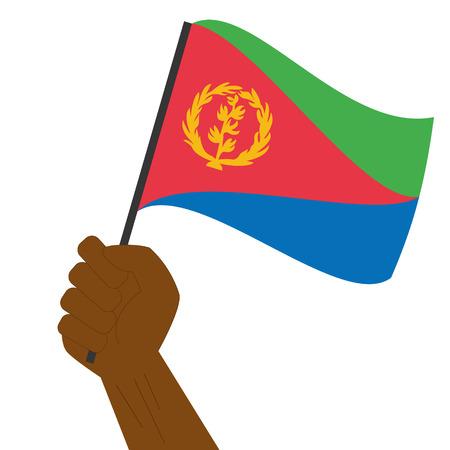 Hand holding and raising the national flag of Eritrea Illustration