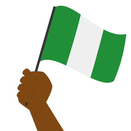 sovereignty: Hand holding and raising the national flag of Nigeria Illustration