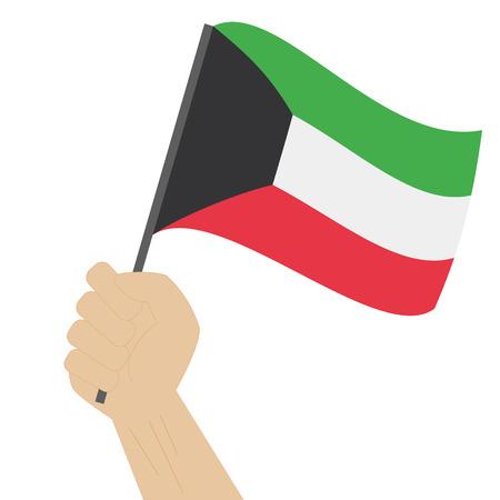 sovereignty: Hand holding and raising the national flag of Kuwait Illustration
