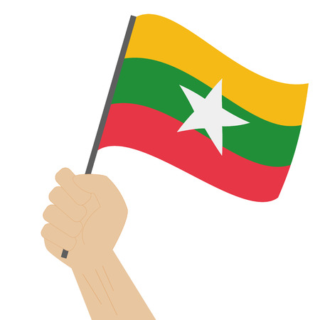 sovereignty: Hand holding and raising the national flag of Myanmar Illustration