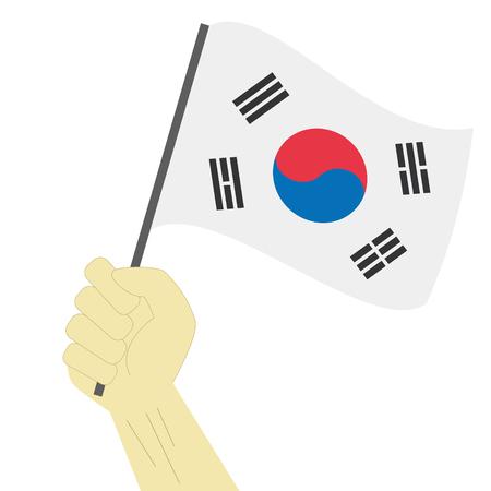 Hand holding en het verhogen van de nationale vlag van Zuid-Korea Vector Illustratie