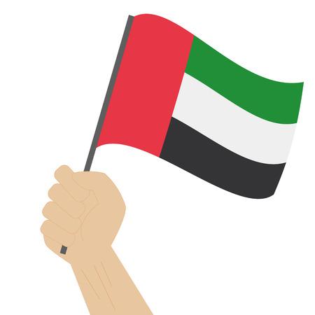 sovereignty: Hand holding and raising the national flag of United Arab Emirates UAE Illustration