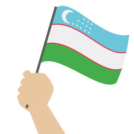 sovereignty: Hand holding and raising the national flag of Uzbekistan Illustration