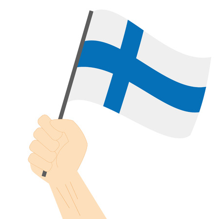 sovereignty: Hand holding and raising the national flag of Finland