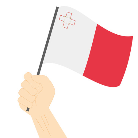 raise hand: Hand holding and raising the national flag of Malta Illustration
