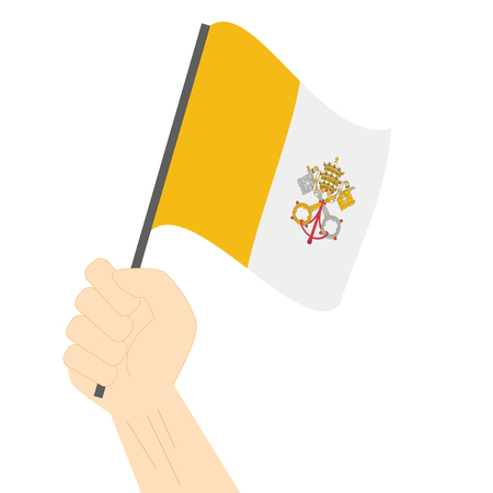 vatican city: Hand holding and raising the national flag of Vatican City