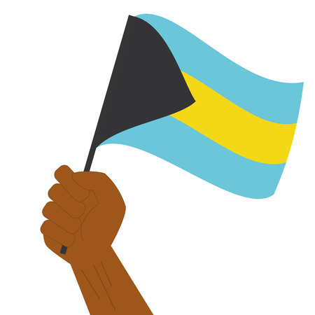 Hand holding and raising the national flag of Bahamas Illustration