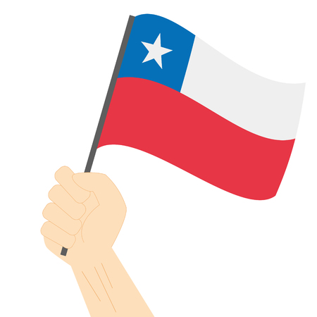 Hand holding and raising the national flag of Chile Illustration
