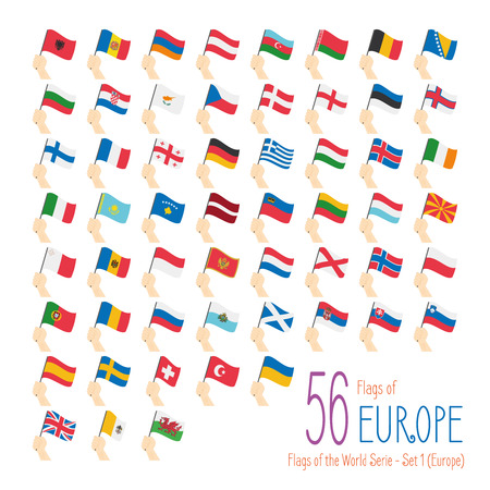 hand raising: Set of 56 flags of Europe. Hand raising the national flags of 56 countries of Europe. Icon set Vector Illustration. Illustration