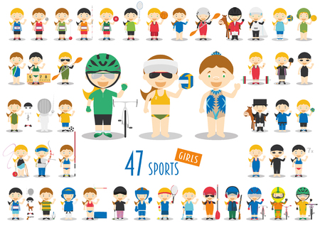 competitions: Big Set of 47 cute cartoon sport characters for kids. Funny cartoon girls.  Sports vector illustrations Illustration
