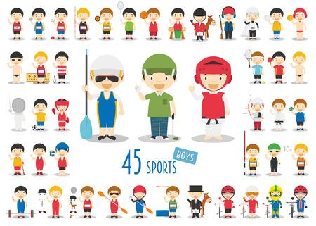 Big Set of 45 cute cartoon sport characters for kids. Funny cartoon boys.  Sports vector illustrations Vettoriali