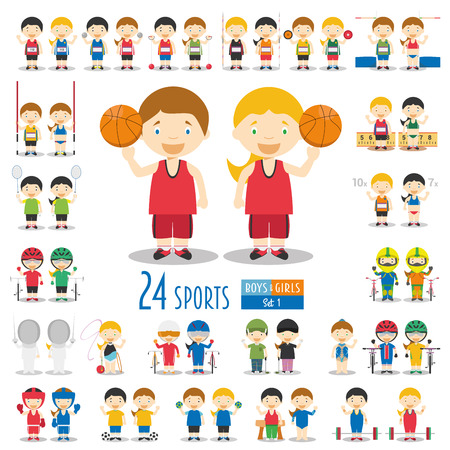 SET 1: Set of 46 different sport characters in cartoon style (boys and girls characters, 24 different sports).  Sports vector illustrations Illustration
