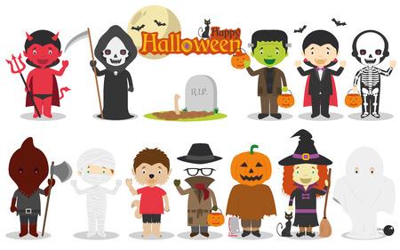 guadaña: Los niños determinados de personajes de Halloween