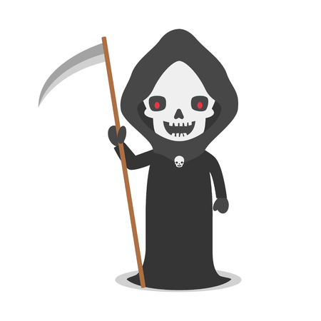 angel of death: Cartoon illustration of angel of death with scythe Illustration