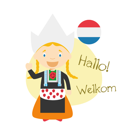 Vector illustration of cartoon characters saying hello and welcome in Dutch Illustration