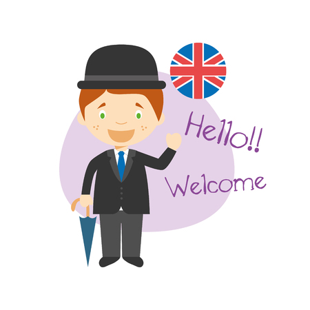 Vector illustration of cartoon characters saying hello and welcome in English