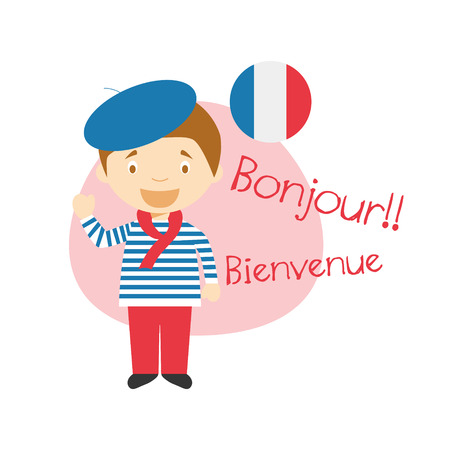 Vector illustration of cartoon characters saying hello and welcome in French