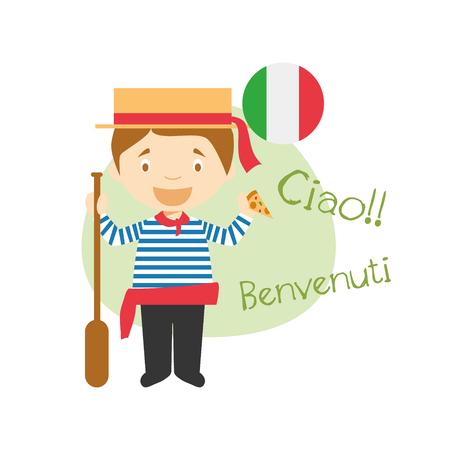 Vector illustration of cartoon characters saying hello and welcome in Italian