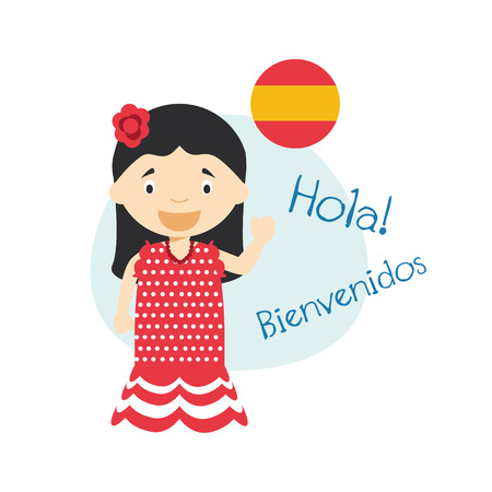 Vector illustration of cartoon characters saying hello and welcome in Spanish