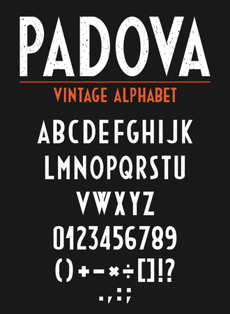 orthography: Retro Vintage Alphabet with letters, numbers and orthographic signs