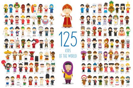 Crianças da coleção de personagens do vetor mundial: conjunto de 125 crianças de diferentes nacionalidades no estilo cartoon. Ilustración de vector