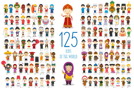traditional culture: Kids of the World Vector Characters Collection: Set of 125 children of different nationalities in cartoon style.