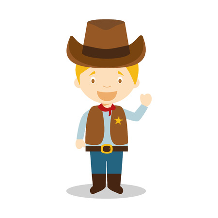 Cowboy character from USA dressed in the traditional way Illustration