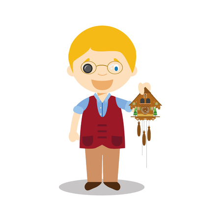 Watchmaker character from Switzerland with cuckoo clock Illustration Stock Illustratie