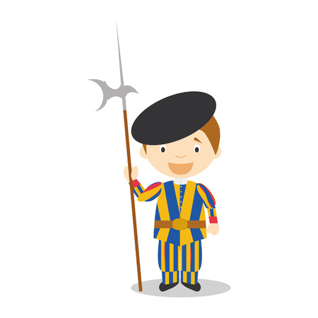 diversity of the region: Swiss Guard character from Vatican City dressed in the traditional way Illustration Illustration