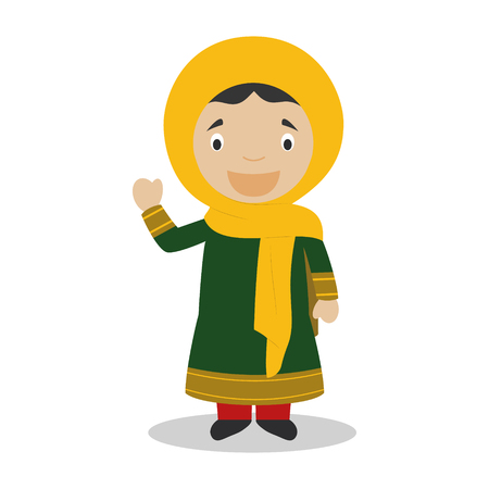 diversity of the region: Character from Afghanistan dressed in the traditional way Illustration
