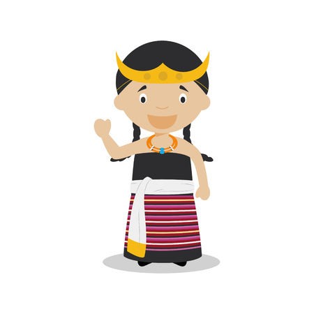 diversity of the region: Character from East Timor dressed in the traditional way Illustration