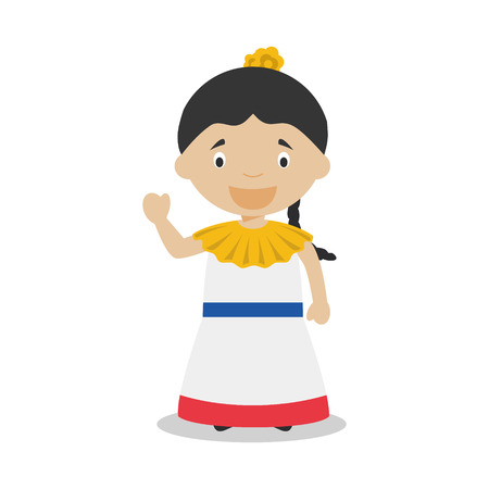 latin american girls: Character from Venezuela dressed in the traditional way Illustration