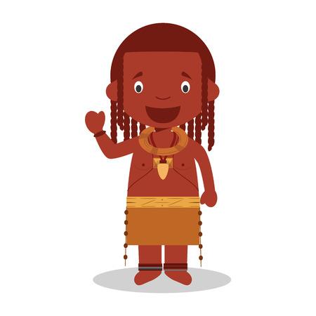 전통적인 방법으로 옷을 입고 앙골라 (Himba 부족)에서 문자 그림 일러스트