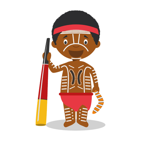 Character from Australia (Aboriginal) dressed in the traditional way with didgeridoo Illustration