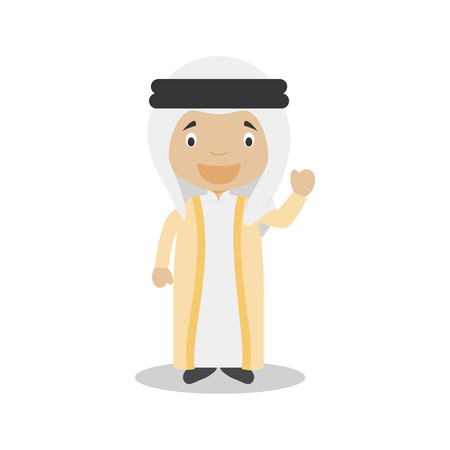 diversity of the region: Character from United Arab Emirates dressed in the traditional way Illustration Illustration
