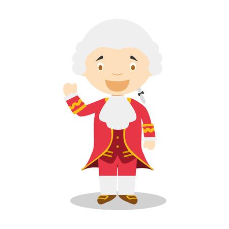 Wolfgang Amadeus Mozart cartoon character  イラスト・ベクター素材