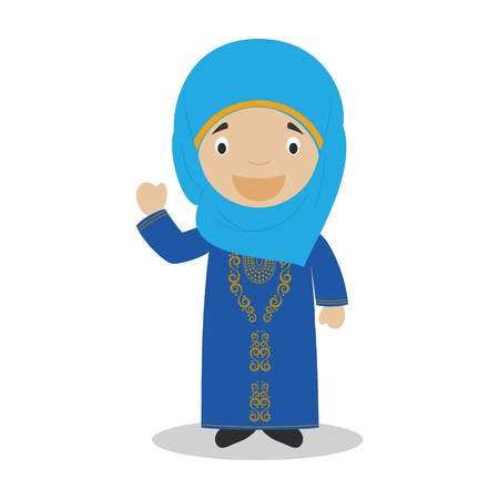 diversity of the region: Character from Bahrain dressed in the traditional way Illustration