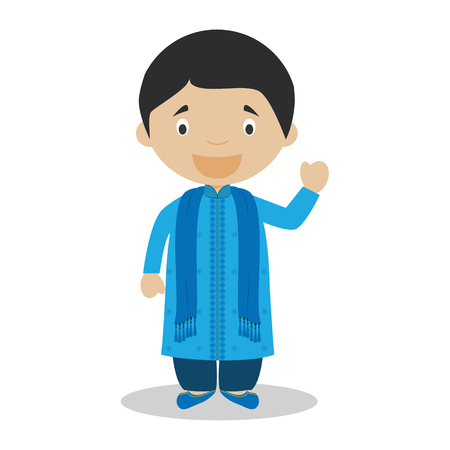 diversity of the region: Character from Bangladesh dressed in the traditional way Vector Illustration. Kids of the World Collection. Illustration